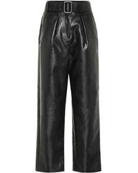 Self-Portrait High-rise Wide-leg Leather Pants - Black