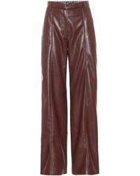 Nanushka Pantalon Cleo en cuir synthétique à taille haute - Marron