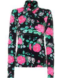 Richard Quinn Top en velours à fleurs - Noir