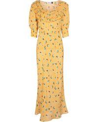 RIXO London Vestido Belle en mezcla de seda floral - Amarillo