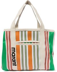 Isabel Marant Shopper Warden a righe in canvas - Verde