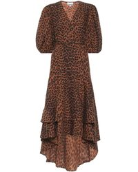 Ganni Wickelkleid aus Baumwollpopeline - Braun