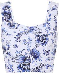 Alexandra Miro Exclusive To Mytheresa – Maia Printed Cotton-poplin Top - Blue