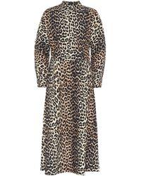 Ganni Leopard Print Midi Dress - Multicolor