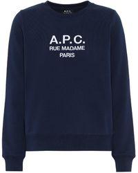 A.P.C. Tina Printed Cotton Sweatshirt - Blue