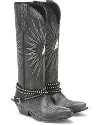 Golden Goose Deluxe Brand Wish Star Leather Cowboy Boots - Black