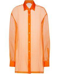 Dries Van Noten Camisa de organza de seda - Naranja