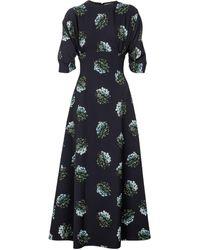 Emilia Wickstead Olga Floral Crêpe Maxi Dress - Blue