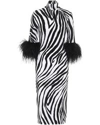 Halpern Robe à motif zébré et plumes d'autruche - Noir