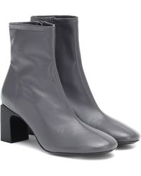 BY FAR Vasi Leather Ankle Boots - Gray