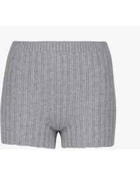 Erdem Shorts Kinsley in lana e cashmere a coste - Grigio
