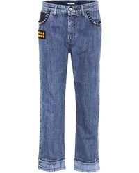 Miu Miu Embellished Cropped Jeans - Blue