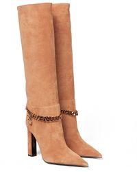 Versace Stiefel aus Veloursleder - Braun