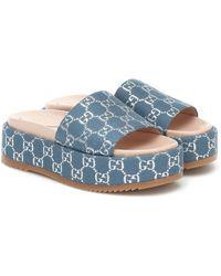 Gucci Blue Lame Angelina Platform Sandals