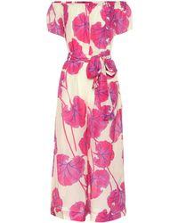 Diane von Furstenberg Helena Jumpsuit Aus Einer Bedruckten Baumwoll-seidenmischung Mit Gürtel - Pink