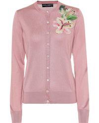 Dolce & Gabbana Embellished Silk Cardigan - Pink