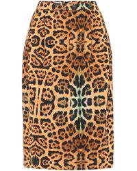 Dries Van Noten Jupe imprimée en coton mélangé à taille haute - Multicolore