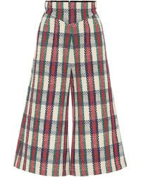 Gucci Checked Tweed Culottes - Red