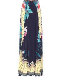 Etro Falda larga de crepé estampada - Azul