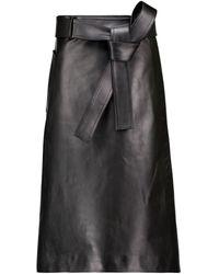Balenciaga Falda de piel de tiro alto - Negro