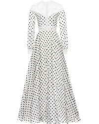 Costarellos Dotted Tulle Gown - White