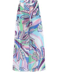 Emilio Pucci Printed Cotton And Silk Wide-leg Pants - Blue