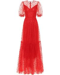 Costarellos Flocked Tulle Gown - Red