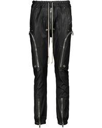 Rick Owens Lillies pantalones de chándal de piel y algodón - Negro