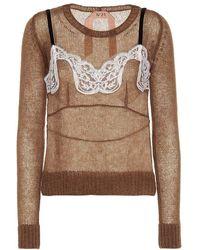 N°21 Pullover in misto mohair - Marrone