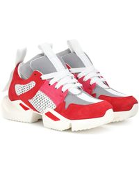 Unravel Project Suede-trimmed Sneakers - Red
