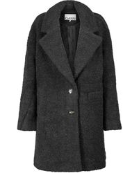 Ganni Manteau en laine mélangée - Gris