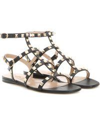 Valentino - Rockstud Leather Flat Sandals - Lyst