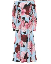 Erdem Exclusive To Mytheresa – Pollina Floral Cotton-poplin Dress - Blue