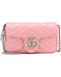 Gucci Bolso GG Marmont Super Mini de piel - Rosa