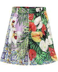 Dolce & Gabbana Shorts de seda con estampado floral - Multicolor
