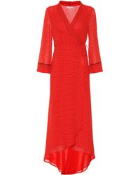 Ganni Polka-dot Georgette Midi Dress - Red
