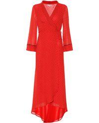 Ganni Wickelkleid Mullin aus Georgette - Rot