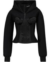 Dolce & Gabbana Sudadera con capucha y bustier de punto técnico - Negro