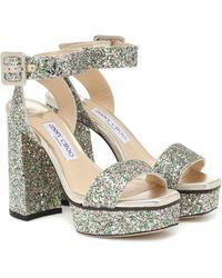 Jimmy Choo Jax 115 Glitter Platform Sandals - Multicolour