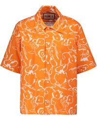 Plan C Floral Cotton Shirt - Orange