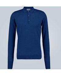John Smedley Polo de lana de manga larga - Azul