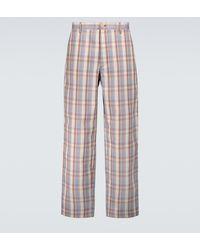 Acne Studios Pantalones de corte recto a cuadros - Morado