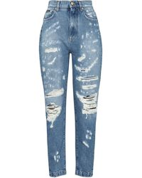 Dolce & Gabbana High-rise Distressed Slim Jeans - Blue
