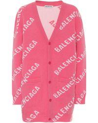 Balenciaga Cardigan Aus Einer Wollmischung Mit Intarsienmuster - Pink