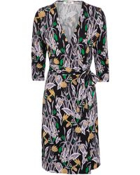 Diane von Furstenberg Robe portefeuille New Julian Two en soie à fleurs - Noir
