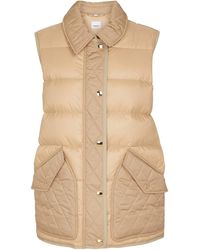 Burberry Quilted Down Vest - Natural