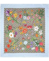 Gucci GG Halstuch aus Seide mit Flora-Print - Natur