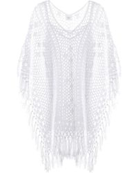 Anna Kosturova - Tassel Crocheted Cotton Poncho Dress - Lyst