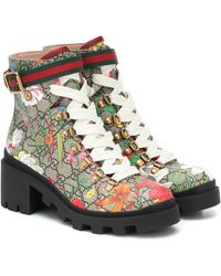 Gucci Bottines GG Flora en toile et cuir - Multicolore