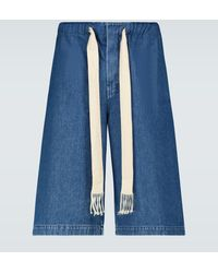 Loewe Wide-leg Denim Shorts - Blue